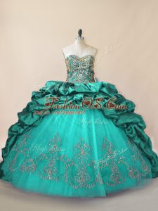 Vintage Taffeta Sweetheart Sleeveless Brush Train Lace Up Beading and Pick Ups Ball Gown Prom Dress in Turquoise