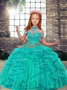 Turquoise Ball Gowns Tulle High-neck Sleeveless Beading and Ruffles Floor Length Lace Up Pageant Dress for Womens