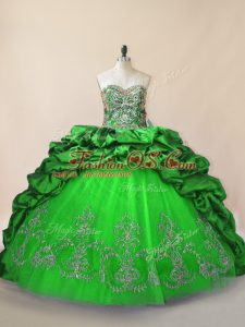 Sweetheart Sleeveless Taffeta and Tulle Ball Gown Prom Dress Beading and Pick Ups Brush Train Lace Up