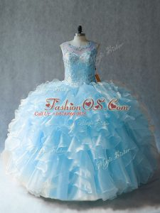 Blue Scoop Neckline Beading and Ruffles Quinceanera Gown Sleeveless Lace Up