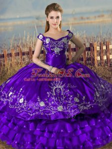 Best Selling Purple Ball Gowns Embroidery and Ruffled Layers Quinceanera Dresses Lace Up Satin and Organza Sleeveless Floor Length