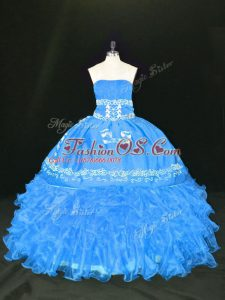 Organza Strapless Sleeveless Lace Up Embroidery and Ruffles Quinceanera Gown in Blue