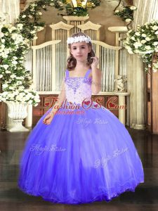 Hot Selling Blue Lace Up Straps Beading Glitz Pageant Dress Tulle Sleeveless