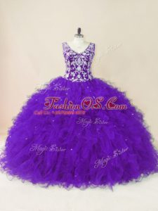 V-neck Sleeveless Sweet 16 Dresses Floor Length Beading and Ruffles Purple Tulle