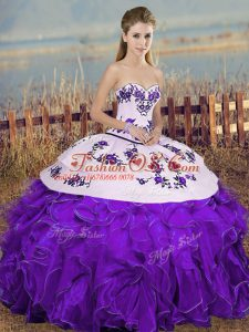White And Purple Organza Lace Up Quinceanera Dress Sleeveless Floor Length Embroidery and Ruffles and Bowknot