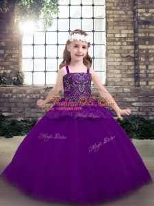 Latest Purple Tulle Lace Up Kids Formal Wear Sleeveless Floor Length Beading
