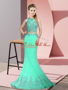 Sexy Apple Green Zipper High-neck Beading and Appliques Party Dresses Satin Sleeveless Sweep Train
