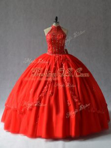 Halter Top Sleeveless Lace Up Quinceanera Gown Red Tulle