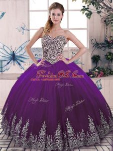 Purple Sweetheart Lace Up Beading and Embroidery 15 Quinceanera Dress Sleeveless