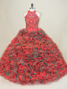 High Quality Multi-color Lace Up Halter Top Sleeveless Sweet 16 Quinceanera Dress Brush Train Embroidery