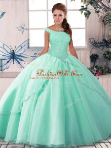 Apple Green Sleeveless Tulle Brush Train Lace Up Sweet 16 Quinceanera Dress for Military Ball and Sweet 16 and Quinceanera