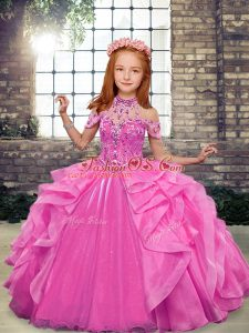 Sleeveless Floor Length Beading and Ruffles Lace Up Kids Formal Wear with Rose Pink