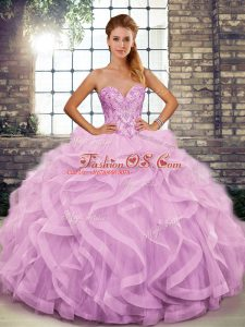 Gorgeous Tulle Sweetheart Sleeveless Lace Up Beading and Ruffles Ball Gown Prom Dress in Lilac