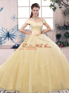 Floor Length Ball Gowns Short Sleeves Champagne Quinceanera Gown Lace Up