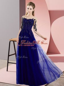 Luxurious Bateau Half Sleeves Court Dresses for Sweet 16 Floor Length Beading and Lace Blue Chiffon