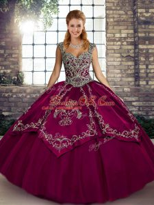 Fuchsia Quince Ball Gowns Military Ball and Sweet 16 and Quinceanera with Beading and Embroidery Straps Sleeveless Lace Up
