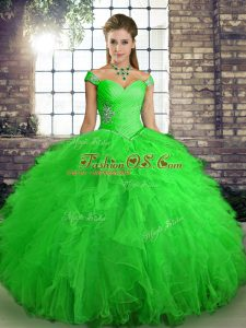 Glittering Sleeveless Floor Length Beading and Ruffles Lace Up Quinceanera Gowns with Green
