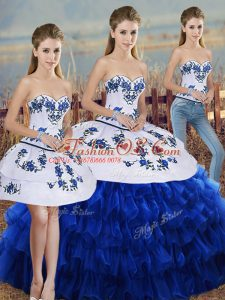 Spectacular Floor Length Lace Up Quinceanera Gowns Royal Blue for Military Ball and Sweet 16 and Quinceanera with Embroidery and Ruffled Layers and Bowknot