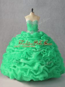 Inexpensive Green Quinceanera Dresses Sweet 16 and Quinceanera with Beading and Pick Ups and Hand Made Flower Sweetheart Sleeveless Lace Up