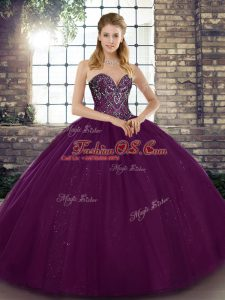 Most Popular Beading 15 Quinceanera Dress Dark Purple Lace Up Sleeveless Floor Length
