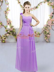 Colorful Floor Length Lace Up Bridesmaid Gown Lavender for Wedding Party with Hand Made Flower