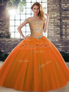 Designer Orange Red Tulle Lace Up Sweet 16 Quinceanera Dress Sleeveless Floor Length Beading