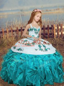 Simple Organza Straps Sleeveless Lace Up Embroidery and Ruffles Child Pageant Dress in Aqua Blue
