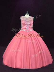 Best Selling Sleeveless Tulle Floor Length Lace Up Quinceanera Dresses in Pink with Beading
