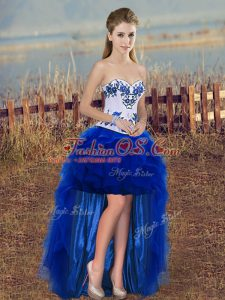 Captivating Royal Blue Lace Up Dress Like A Star Embroidery and Ruffles Sleeveless High Low