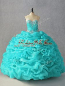 Simple Sweetheart Sleeveless Organza 15th Birthday Dress Beading and Pick Ups and Hand Made Flower Lace Up