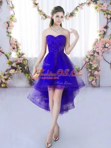 Purple Sleeveless Lace High Low Quinceanera Dama Dress