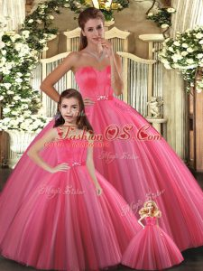 Customized Tulle Sweetheart Sleeveless Lace Up Beading Quince Ball Gowns in Coral Red