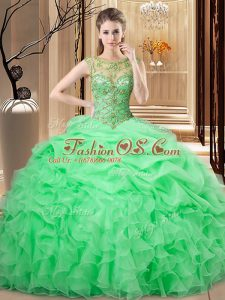 Extravagant Scoop Sleeveless Sweet 16 Dress Floor Length Beading and Ruffles and Pick Ups Organza