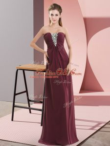 Cheap Burgundy Empire Beading Zipper Chiffon Sleeveless Floor Length