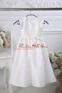 Fabulous White Empire Ruching Toddler Flower Girl Dress Zipper Satin Sleeveless Tea Length