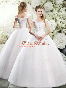 Low Price Straps Sleeveless Tulle Wedding Gown Beading and Hand Made Flower Lace Up