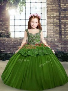 Ball Gowns Little Girl Pageant Dress Green Straps Tulle Sleeveless Floor Length Lace Up