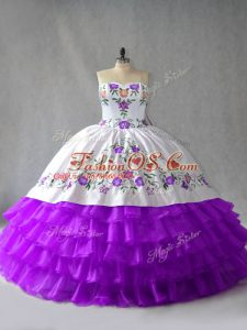 Hot Selling Organza Sweetheart Sleeveless Lace Up Embroidery and Ruffled Layers Quinceanera Dresses in White And Purple