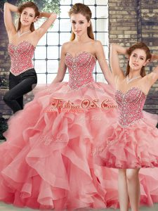 Watermelon Red Three Pieces Beading and Ruffles Quinceanera Gown Lace Up Tulle Sleeveless