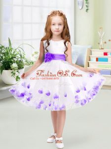 Sleeveless Zipper Knee Length Appliques and Belt Flower Girl Dress