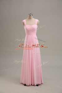 Extravagant Baby Pink Sleeveless Chiffon Zipper Party Dress for Girls for Prom and Party and Military Ball