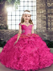 Fuchsia Sleeveless Fabric With Rolling Flowers Lace Up Pageant Dress for Party and Wedding Party