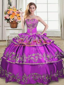 Sweetheart Sleeveless Lace Up Ball Gown Prom Dress Purple Organza
