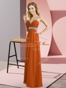 Glamorous Rust Red Sleeveless Chiffon Criss Cross Casual Dresses for Prom and Party