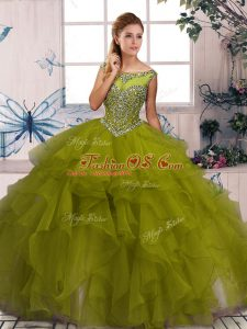 Scoop Sleeveless 15th Birthday Dress Floor Length Beading and Ruffles Olive Green Organza