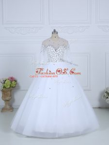 White Ball Gowns Tulle Scoop Long Sleeves Beading Floor Length Lace Up Bridal Gown