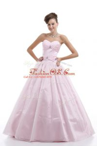 Discount Pink Organza Lace Up Quinceanera Gown Sleeveless Floor Length Beading