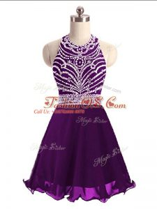 Sophisticated Chiffon Sleeveless Mini Length Prom Gown and Beading