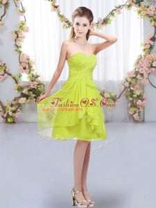 Inexpensive Yellow Green Sweetheart Lace Up Ruffles and Ruching Vestidos de Damas Sleeveless