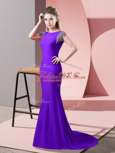 Inexpensive Backless Dress Like A Star Lavender for Prom and Party with Beading Brush Train